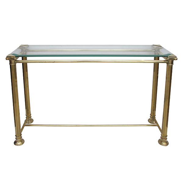 4397 a good quality french 1960's neo-classical style brass console table with beveled glass top.