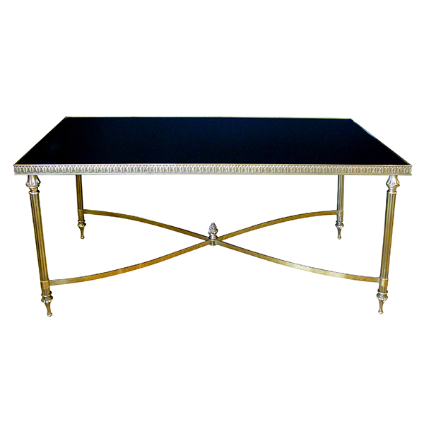 4319 a good quality and stylish french 1960's maison jansen rectangular brass cocktail/coffee table with black glass top 1960's