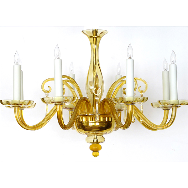 4371 a richly-colored murano 1960's butterscotch-glass 6-light chandelier 1960's