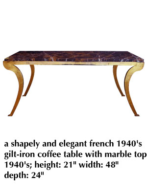 a shapely and elegant french 1940's gilt-iron coffee table with marble top 1940's