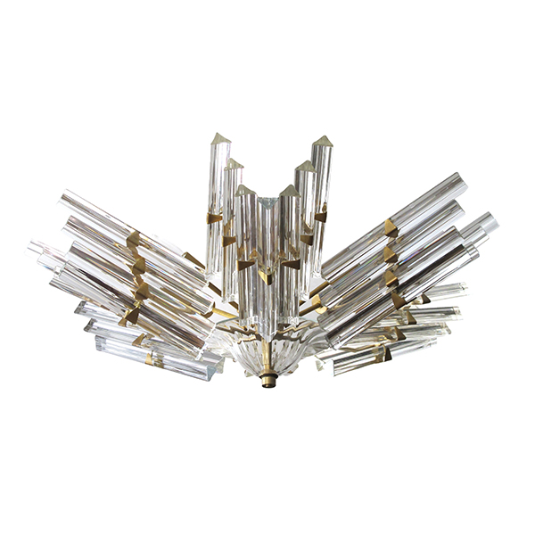 4015 a shimmering and good quality camer flush-mount chandelier with venini triedri glass 1960's