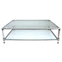 4316 french 1970s nickel glass and lucite rectangular cocktail table