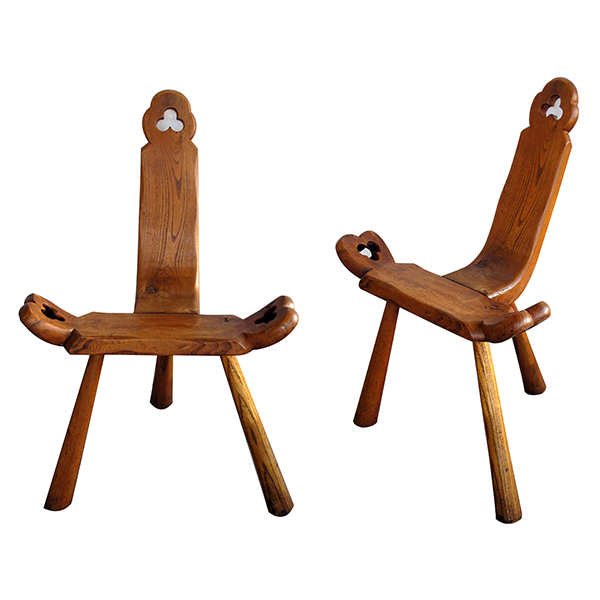 50048 a delightful and rustic pair of swiss tyrolean waxed-oak mountain stools circa 1900