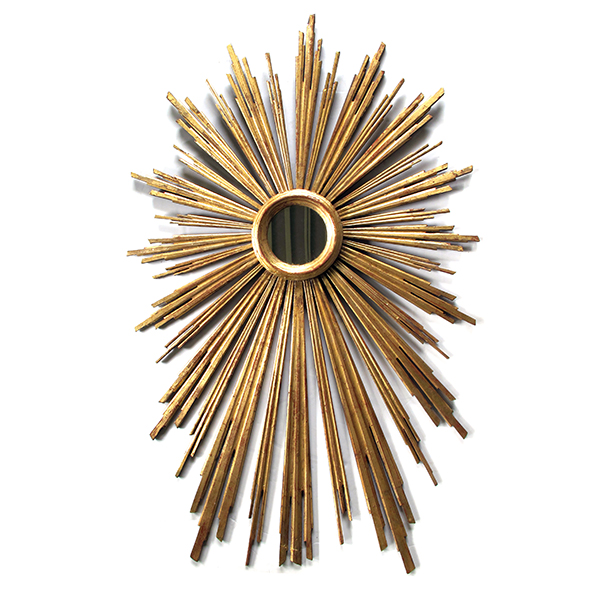 4352 a large and vibrant italian gilt-wood starburst mirror with radiating spokes early 1900's