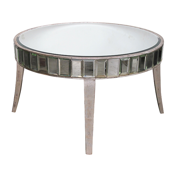 60384 a shimmering american mid-century circular mirrored coffee/cocktail table with silver gilt wood supports 1950's