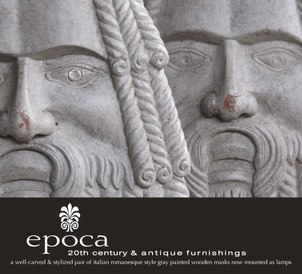 epoca 20th century & antique furnishingsa well-carved and stylized pair of italian romanesque style gray painted wooden masks now mounted as lamps