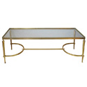 50002 a good quality french mid-century brass rectangular coffee table with glass top by maison jansen, paris 1950's