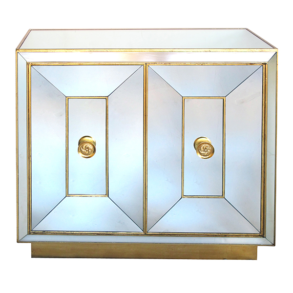 4280 - a glamorous american hollywood regency 1940's mirrored 2-door cabinet with gilt highlights 1940's
