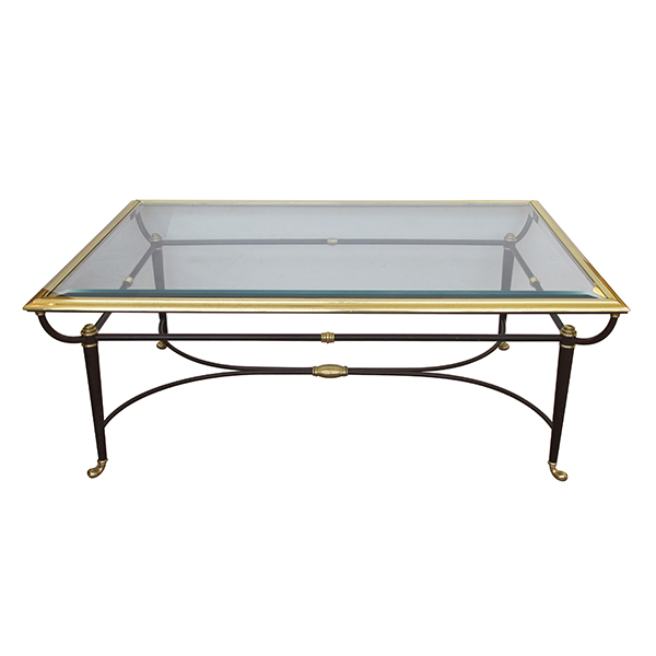 50022 a good quality and stylish french 1950's brass and ebonized metal coffee/cocktail table with beveled glass top 1950's