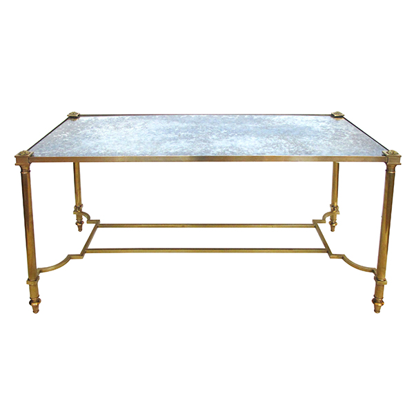 50083 a stylish french mid-century neoclassical style rectangular brass coffee/cocktail table with mirrored top 1950's