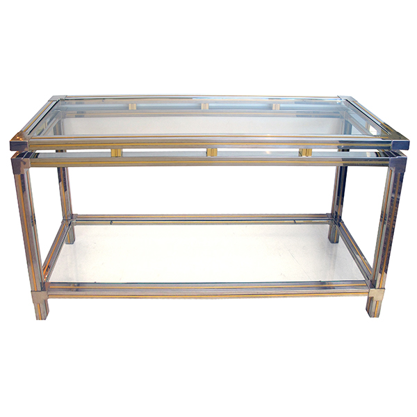 50021 a good quality chrome and brass console table with glass top and lower shelf designed by guy lefevre for maison jansen, paris
