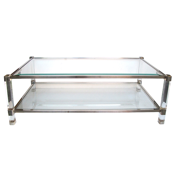 50006 a chic french 1970's pierre vandel nickel, glass and lucite rectangular coffee table 1970's