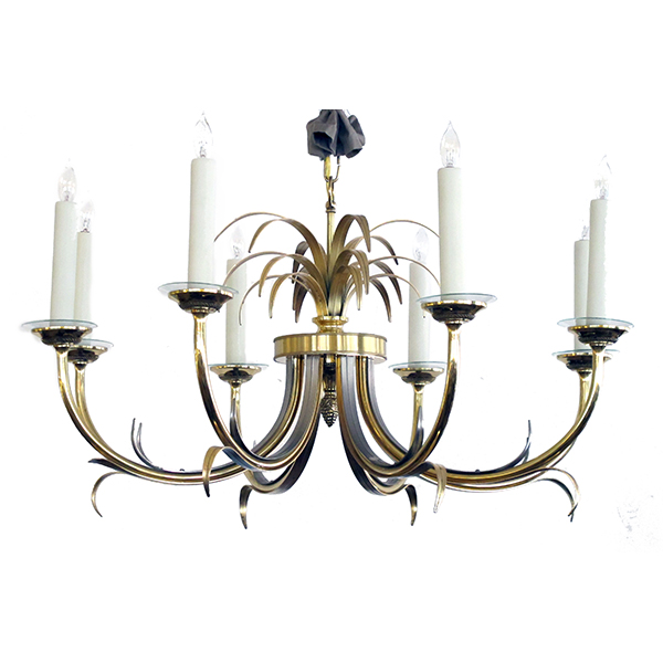 4072 a stylish french mid-century maison charles style brass and brushed steel 8-light chandelier 1940's