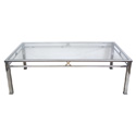 50015 french 1970's chrome and brass rectangular cocktail table