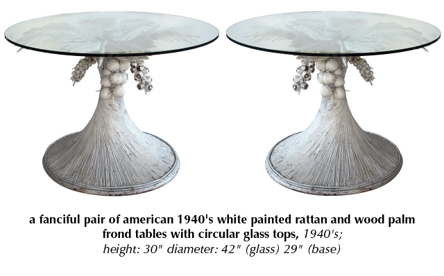 a fanciful pair of american 1940's white painted rattan and wood palm frond tables with circular glass tops 1940's