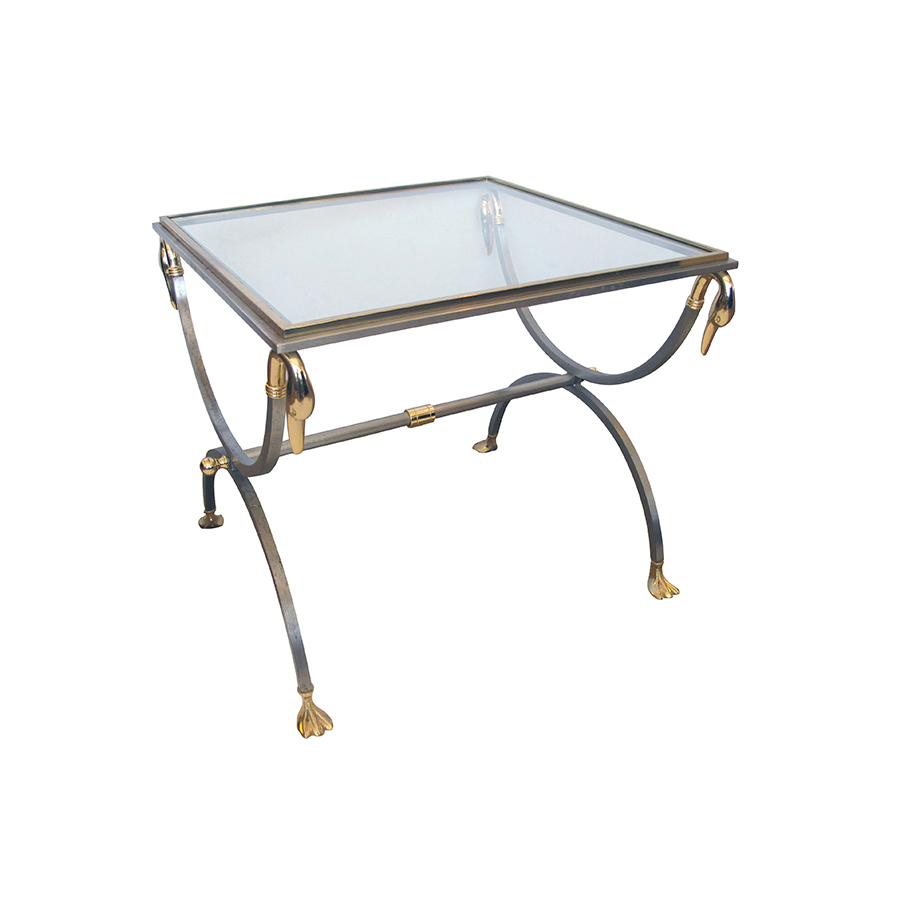 50046 a stylish and good quality french 1960's brushed steel and brass side table with glass and swan supports