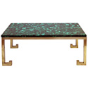 50024 italian 1970s brass table base with marquetry malachite top