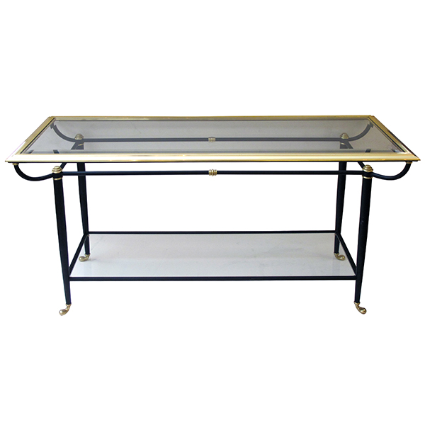50054 a good quality french 1950's brass and black metal console table with beveled glass top and lower shelf 1950's