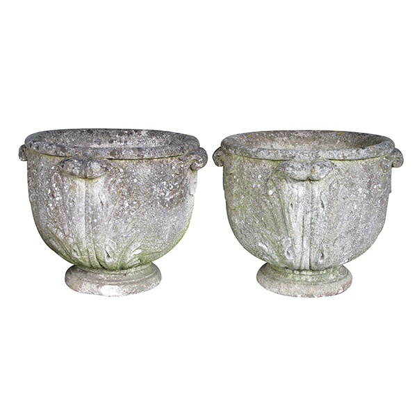 4360 a robust pair of english neoclassical style cast stone urns with acanthus leaf handles early 20th century