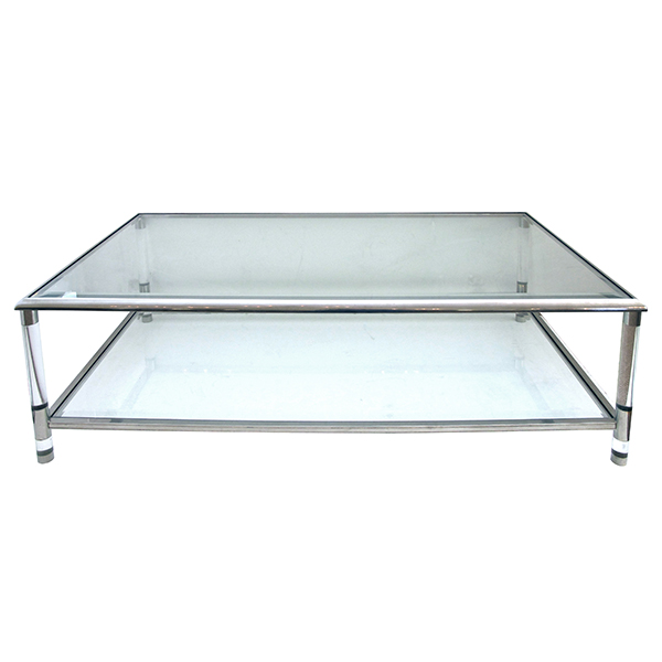 4316 a stylish french 1970's nickel, glass and lucite rectangular coffee/cocktail table in the manner of pierre vandel, paris 1970's