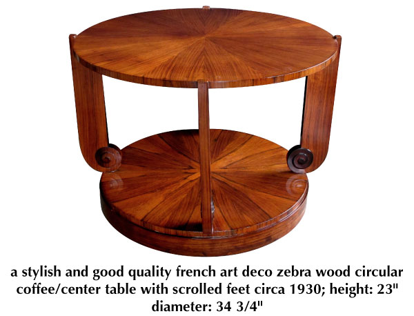 a stylish and good quality french art deco zebra wood circular coffee/center table with scrolled feet circa 1930