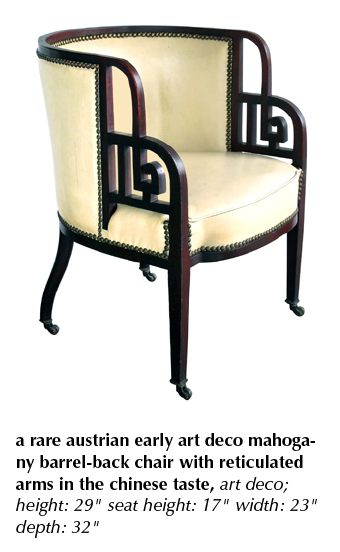 a rare austrian early art deco mahogany barrel-back chair with reticulated arms in the chinese taste, art deco;