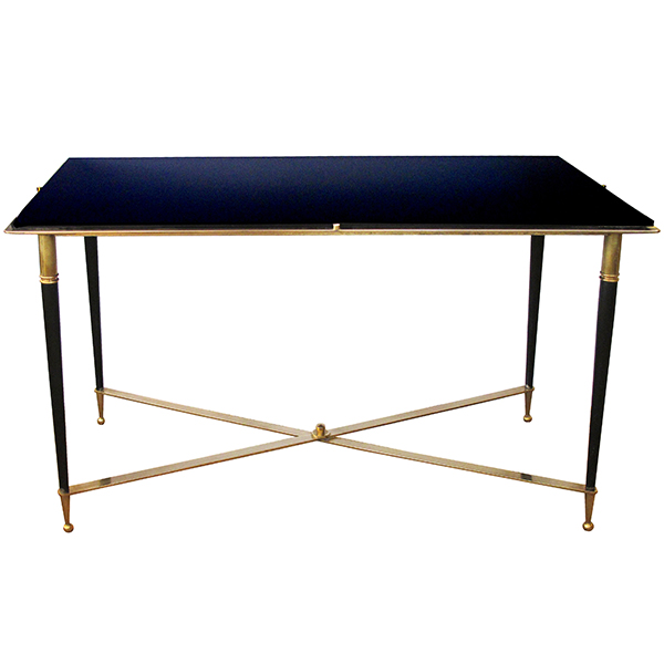 50085 a chic french 1940's brass and metal rectangular coffee/cocktail table with black glass top 1940's