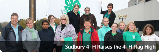 Sudbury 4-H Raises the 4-H Flag High