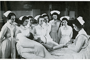 School of Nursing instructor Florence Vanderbilt teaching students, 1930s