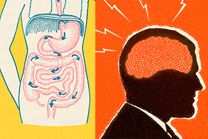 Gut and head retro-style illustrations