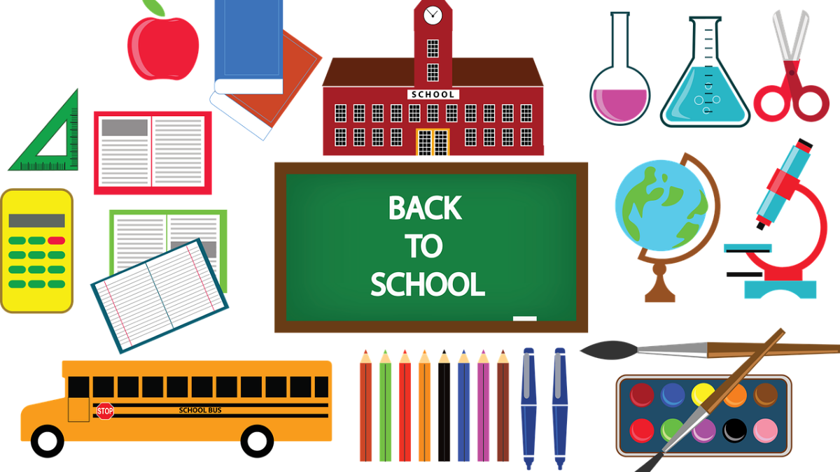 collection of school equipment, school building and school bus