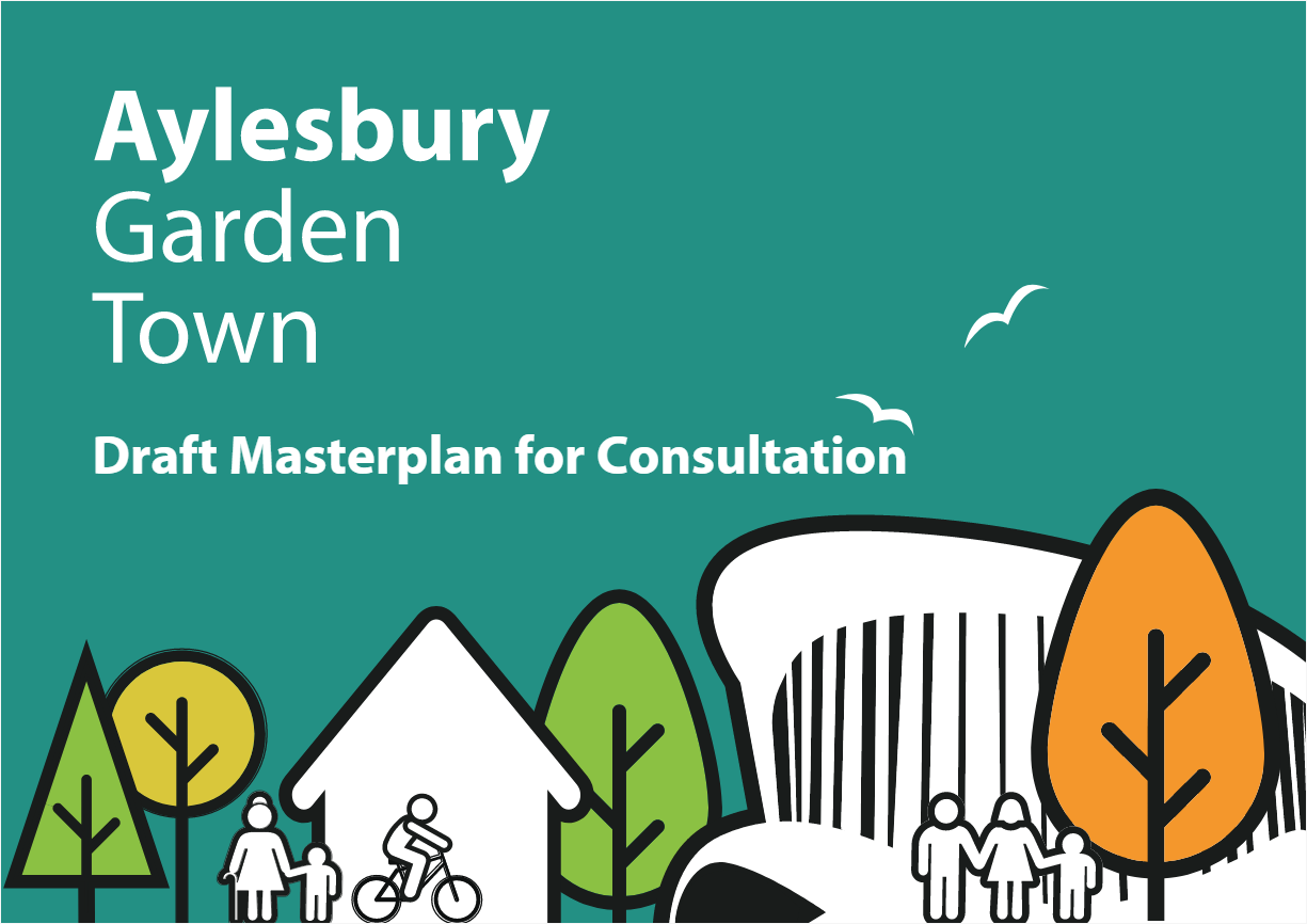 Aylesbury Garden Town poster with silhouettes of figures among trees and buildings.