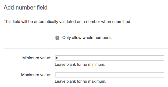 Screenshot showing settings page when adding or editing a number component