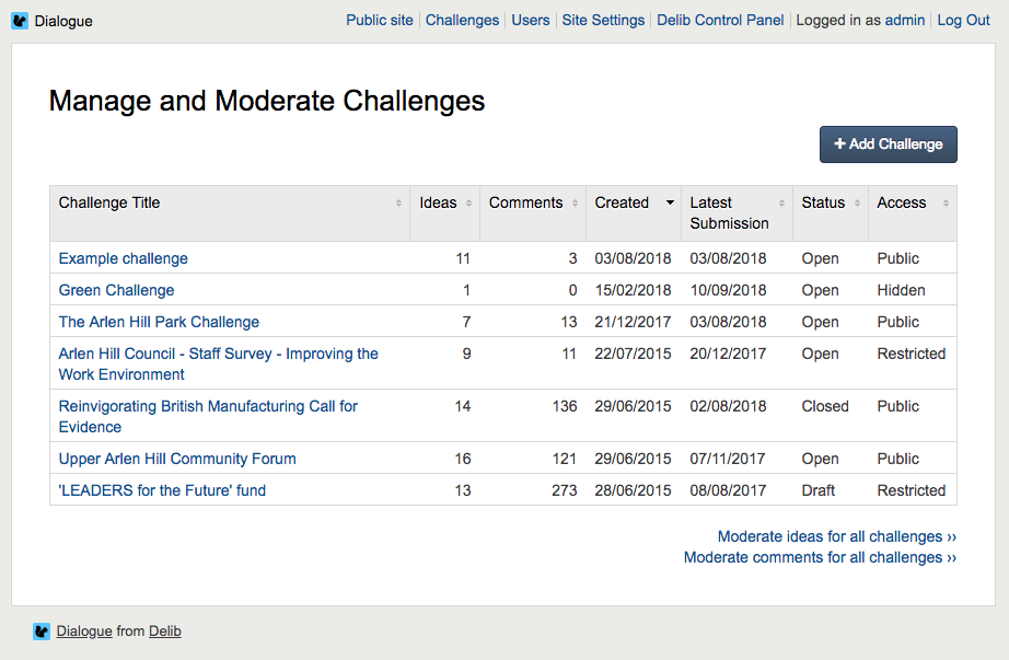 Manage challenges dashboard with challenges listed in table.