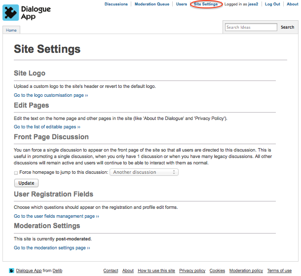 Image of the Site Settings page in Dialogue