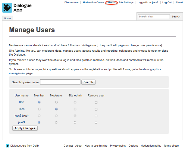 Image of the Manage Users page in Dialogue