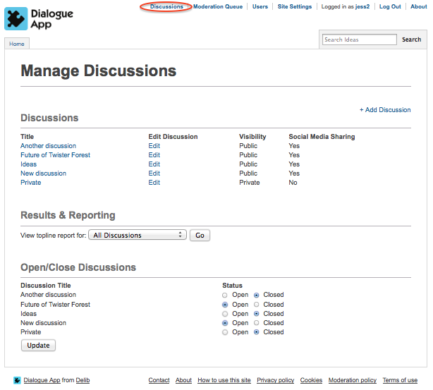 Image of the Manage Discussions page in Dialogue