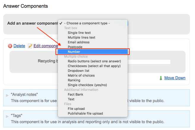Screenshot showing number component highlighted in dropdown list of answer components