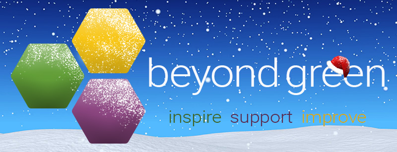 Beyond Green Logo with snow in the background and the tag line 'inspire, support, improve'