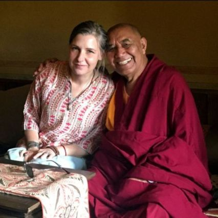 Laura Kozaitis is a co-Founder and Advisory Board Member of Siddhartha School Project, a Himalayan charity school in Ladakh, India. Photo of Laura Kozaitis and Khensur Rinpoche Lobzang Tsetan.