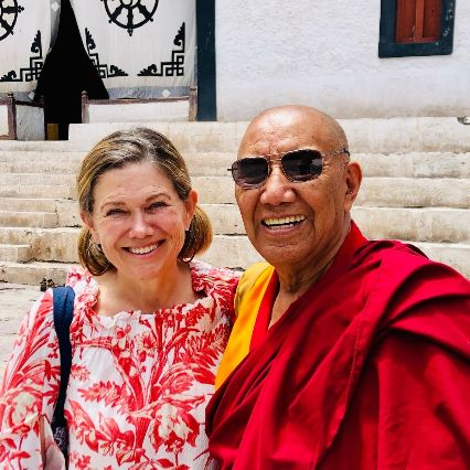 Syndey Young is founder of Mayotte Young and BrandedSac and a board member of the Himalayan education charity the Siddhartha School Project in Ladakh, India in Jammu / Kashmir. Photo of Syndey Young and Khensur Rinpoche Lobzang Tsetan.