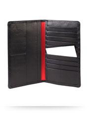Regent Tall Leather Wallet - Black Verglas Leather