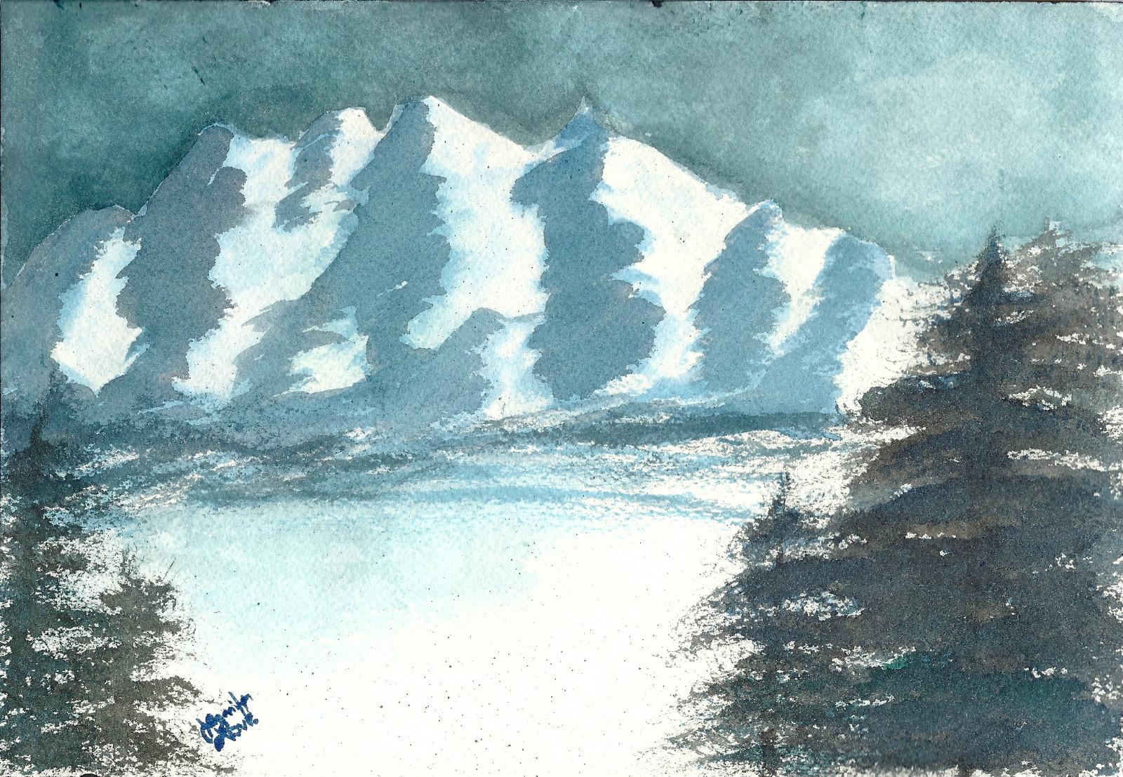 Snowy Mountain Moonlight