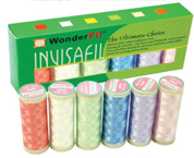 Infisifil 100 weight polyester thread http://www.creativefeet.com/products/accessories/invisifil_mini_packs