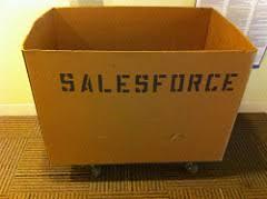 A Cardboard Box Labelled Salesforce - Kathbern Management Toronto Recruiting Agency