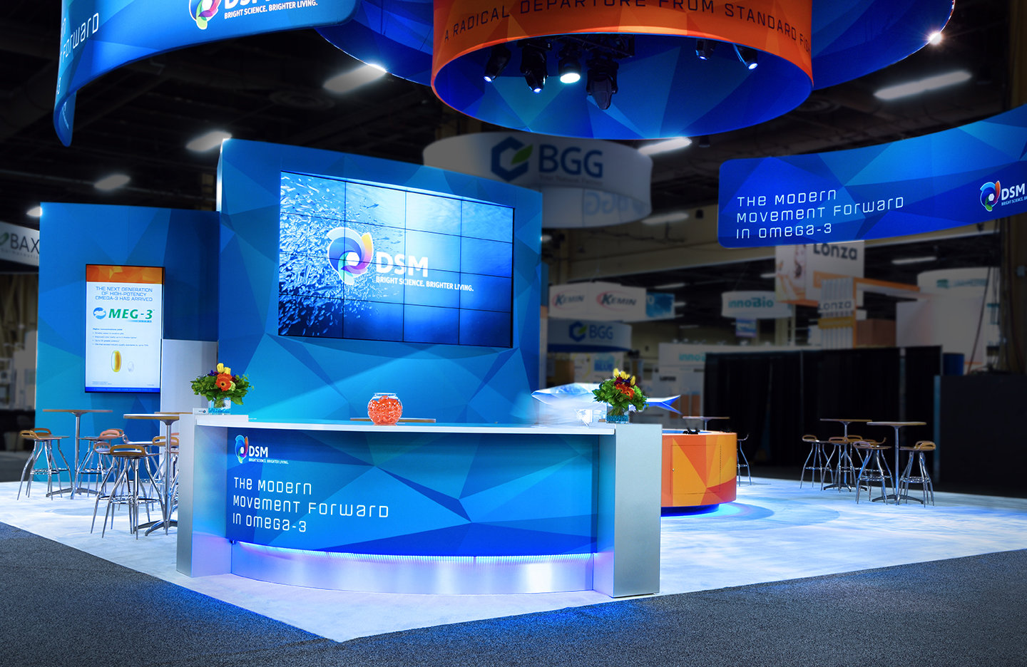 DSM booth with table