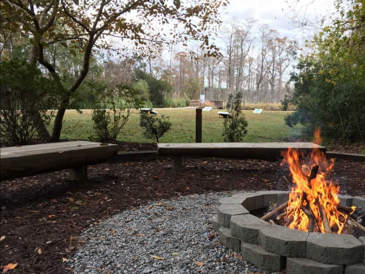 Fire pit with fire in park