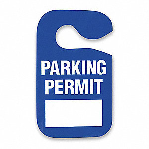 Blue parking permit sign