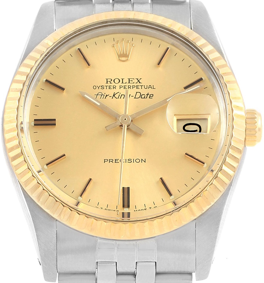 Rolex Air King Vintage Steel Yellow Gold Mens Watch