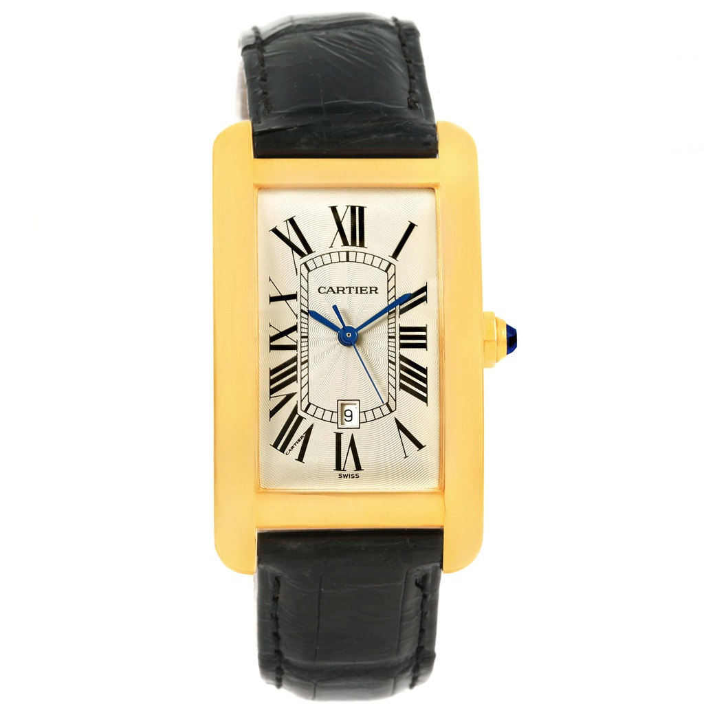 Cartier Tank Americaine 18K Yellow Gold Automatic Mens Watch